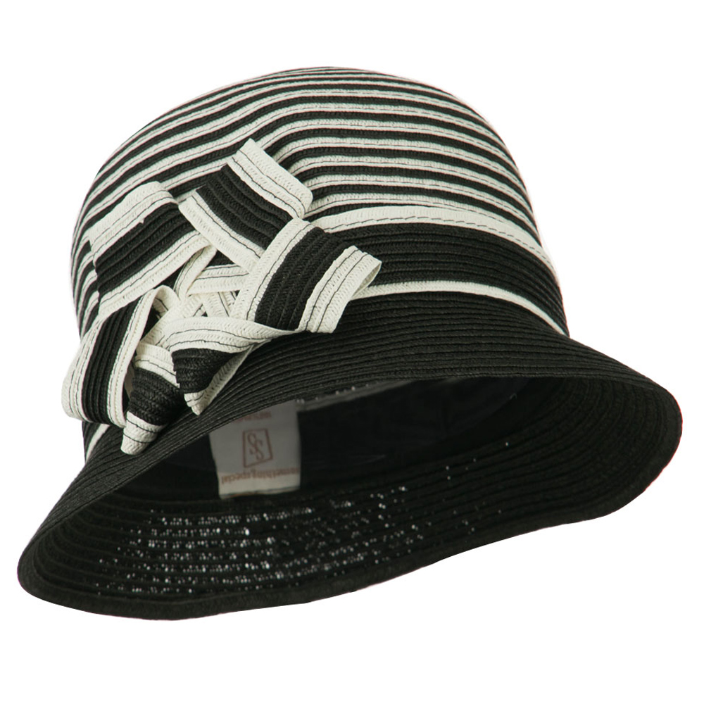 Striped Cloche with Flower Ribbon Detail - Black - Hats and Caps Online Shop - Hip Head Gear