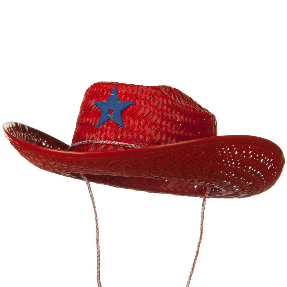 Solid Child Straw Cowboy Hat - Red - Hats and Caps Online Shop - Hip Head Gear