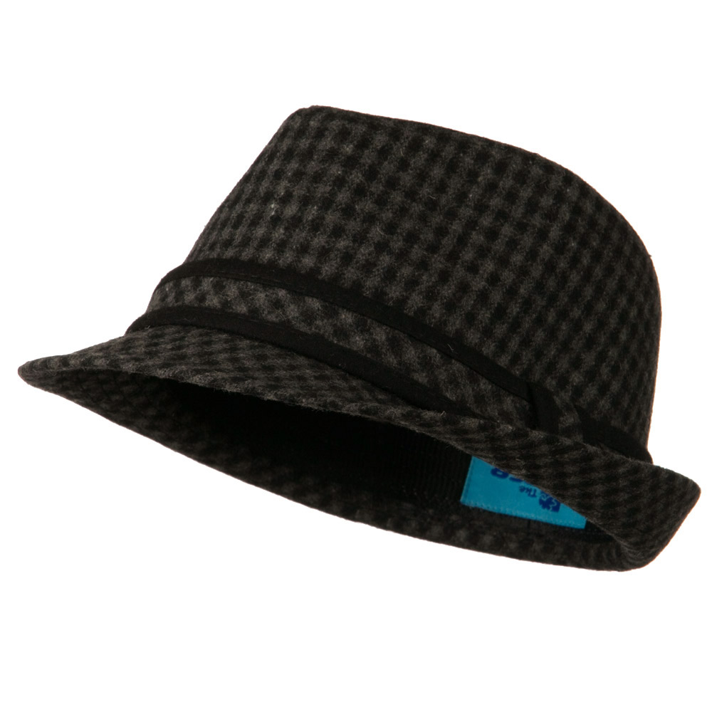 Small Checker Fedora with Matching Band - Black - Hats and Caps Online Shop - Hip Head Gear