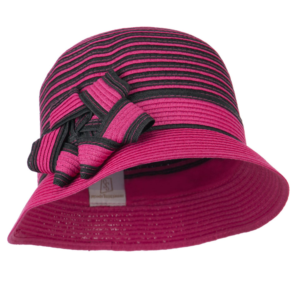 Striped Cloche with Flower Ribbon Detail - Fuchsia - Hats and Caps Online Shop - Hip Head Gear