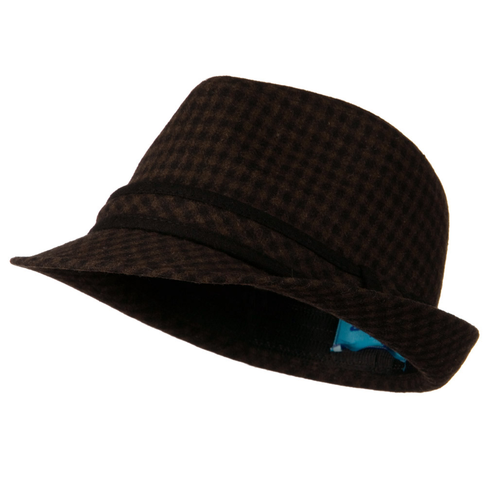 Small Checker Fedora with Matching Band - Brown - Hats and Caps Online Shop - Hip Head Gear