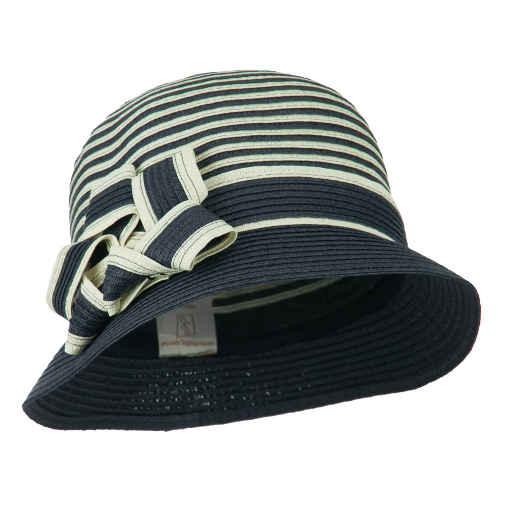 Striped Cloche with Flower Ribbon Detail - Navy - Hats and Caps Online Shop - Hip Head Gear