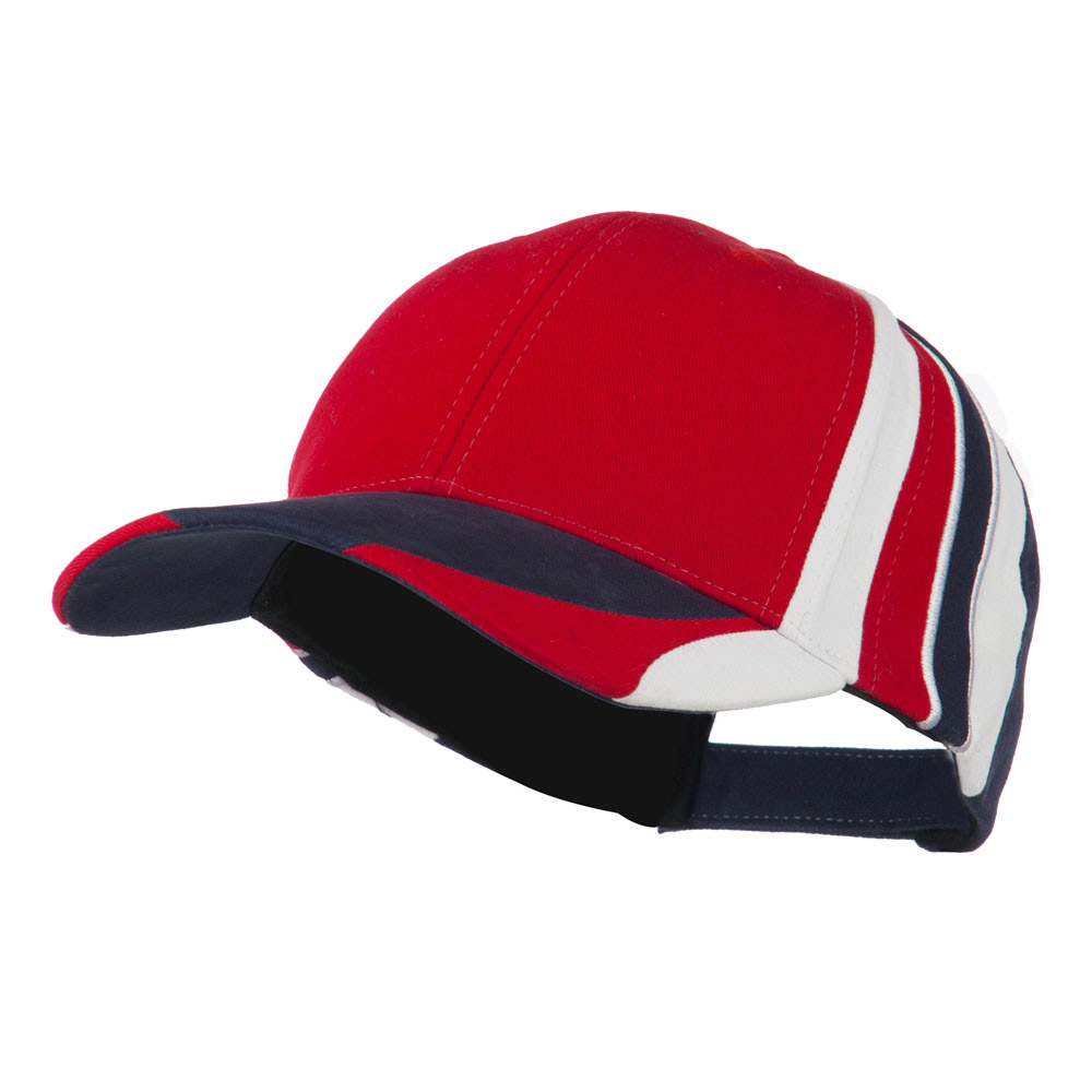 Stripe Crown Deluxe Cap - Red Navy - Hats and Caps Online Shop - Hip Head Gear
