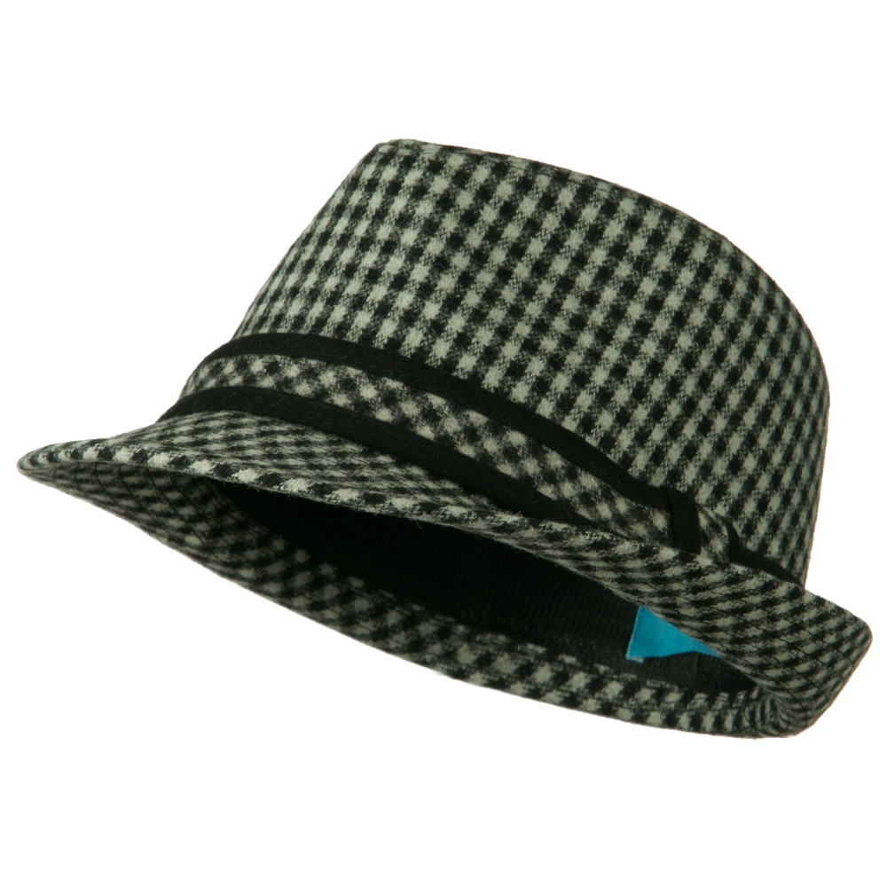 Small Checker Fedora with Matching Band - Grey - Hats and Caps Online Shop - Hip Head Gear