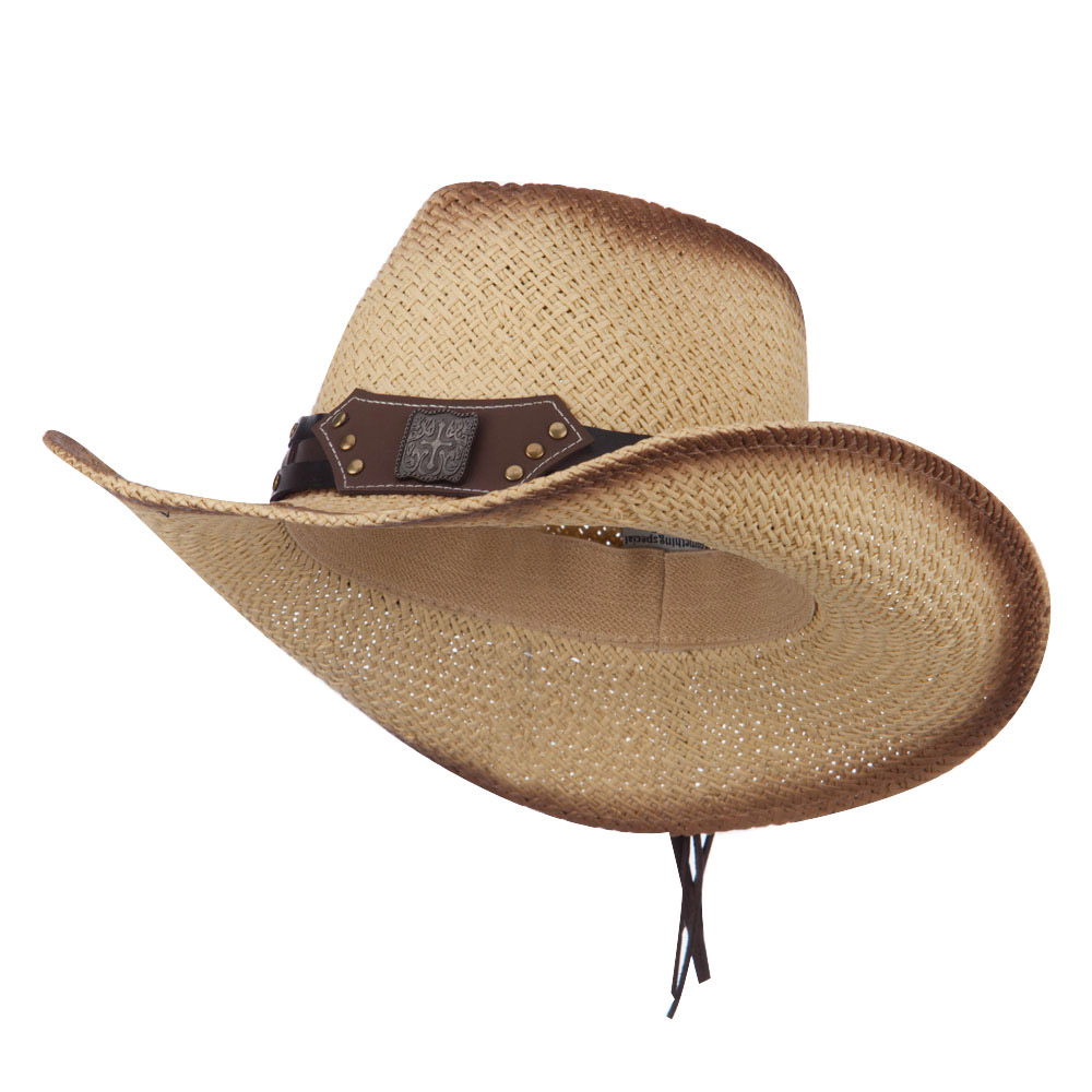 Stain Detail Paper Straw Cowboy Hat with Leather Band - Natural - Hats and Caps Online Shop - Hip Head Gear