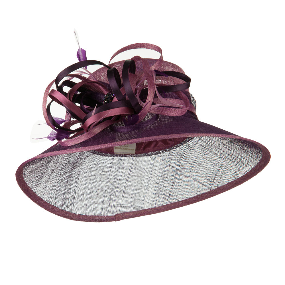 Two Tone Sinamay Hat with Satin Decoration - Lavender - Hats and Caps Online Shop - Hip Head Gear