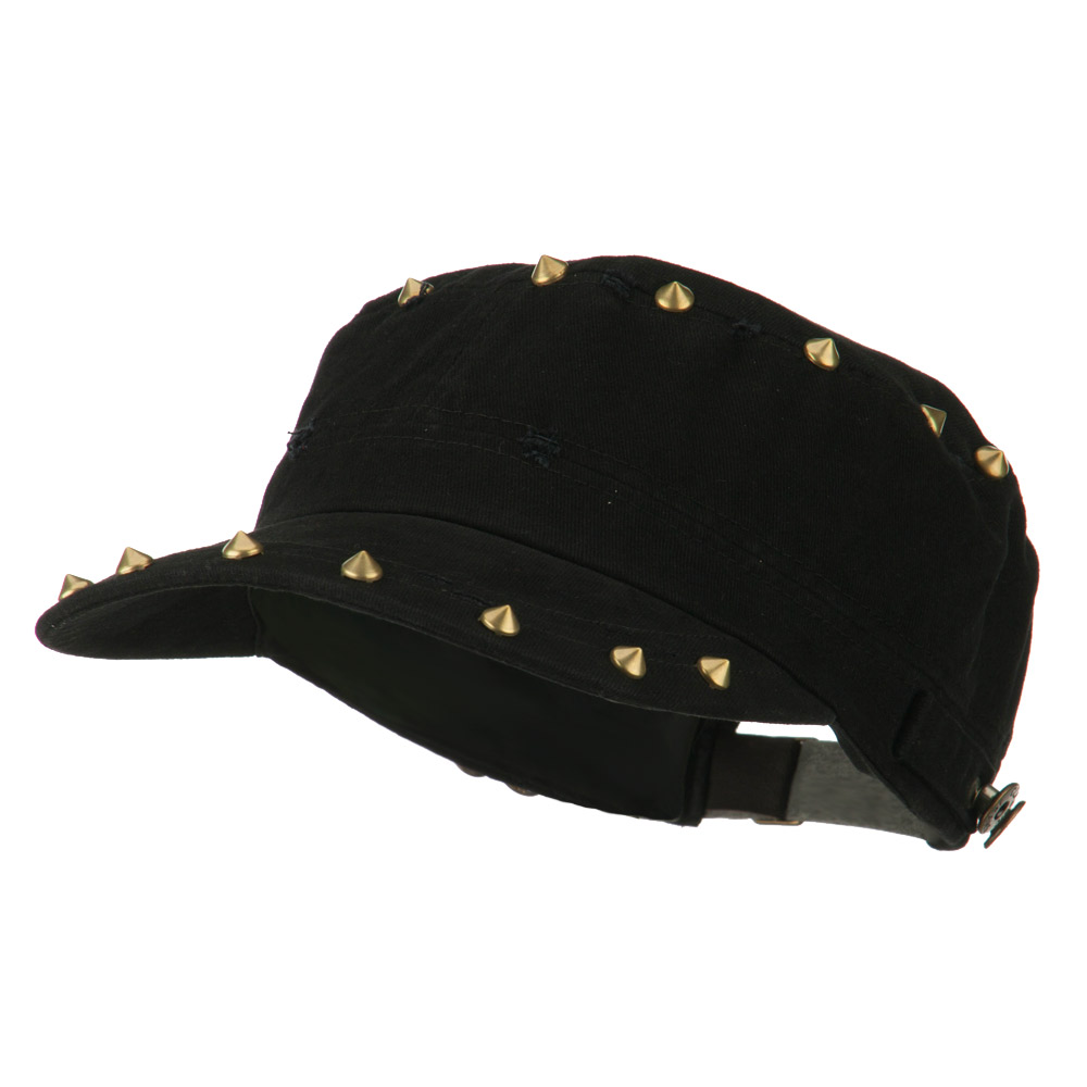 Spike Detail Washed Army Cap - Black - Hats and Caps Online Shop - Hip Head Gear