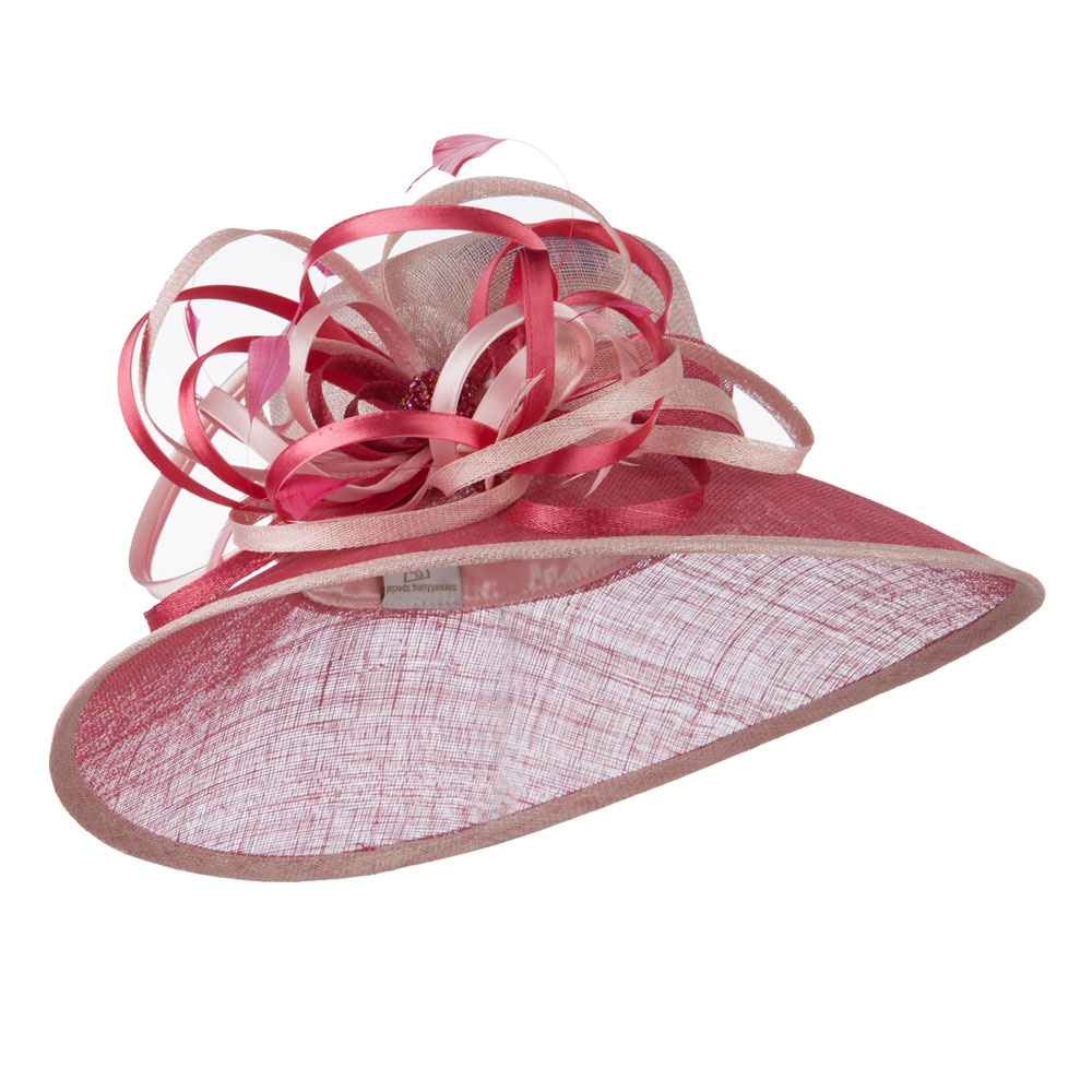 Two Tone Sinamay Hat with Satin Decoration - Pink - Hats and Caps Online Shop - Hip Head Gear