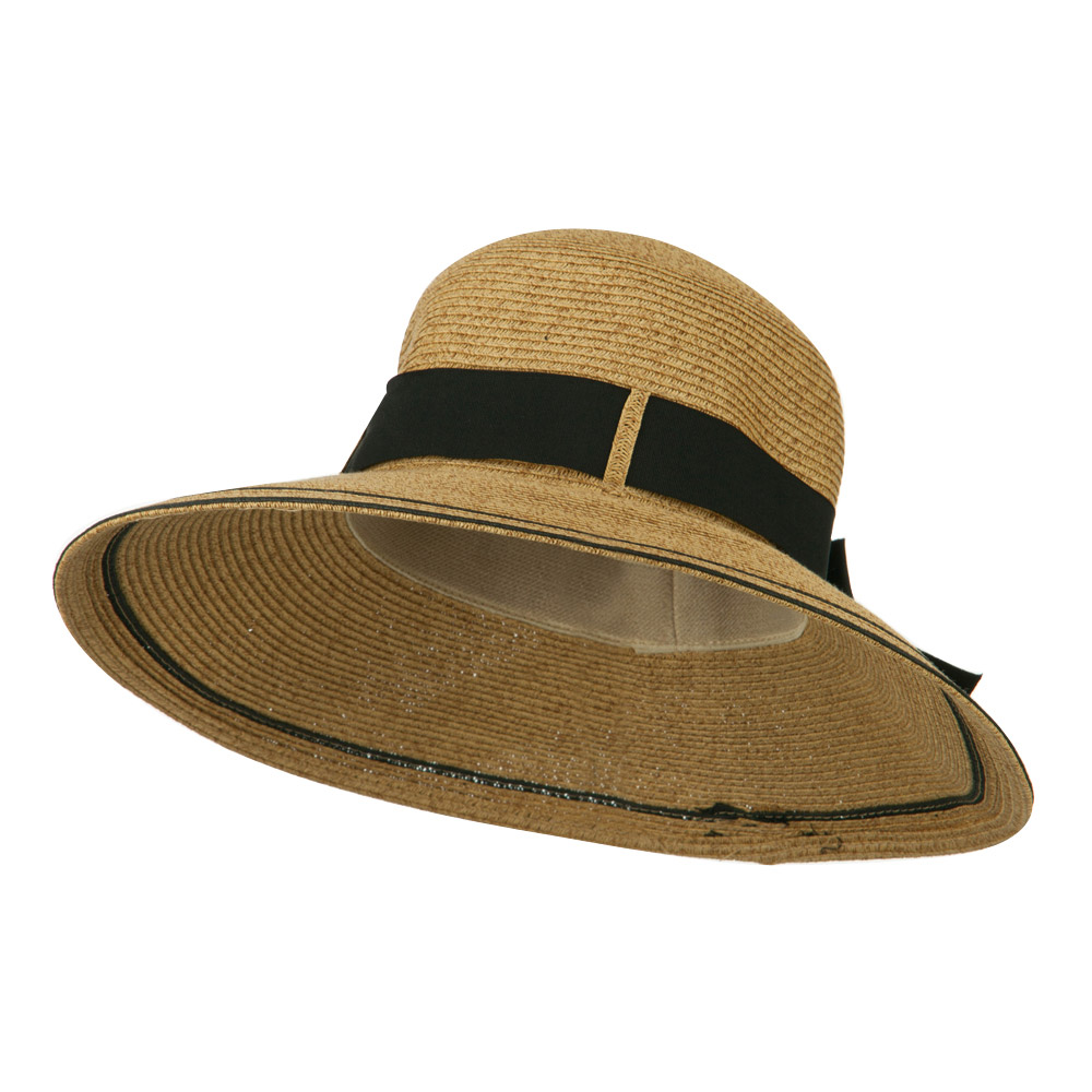 UPF 50+ Striped Brim Ribbon Paper Braid Hat - Tan - Hats and Caps Online Shop - Hip Head Gear