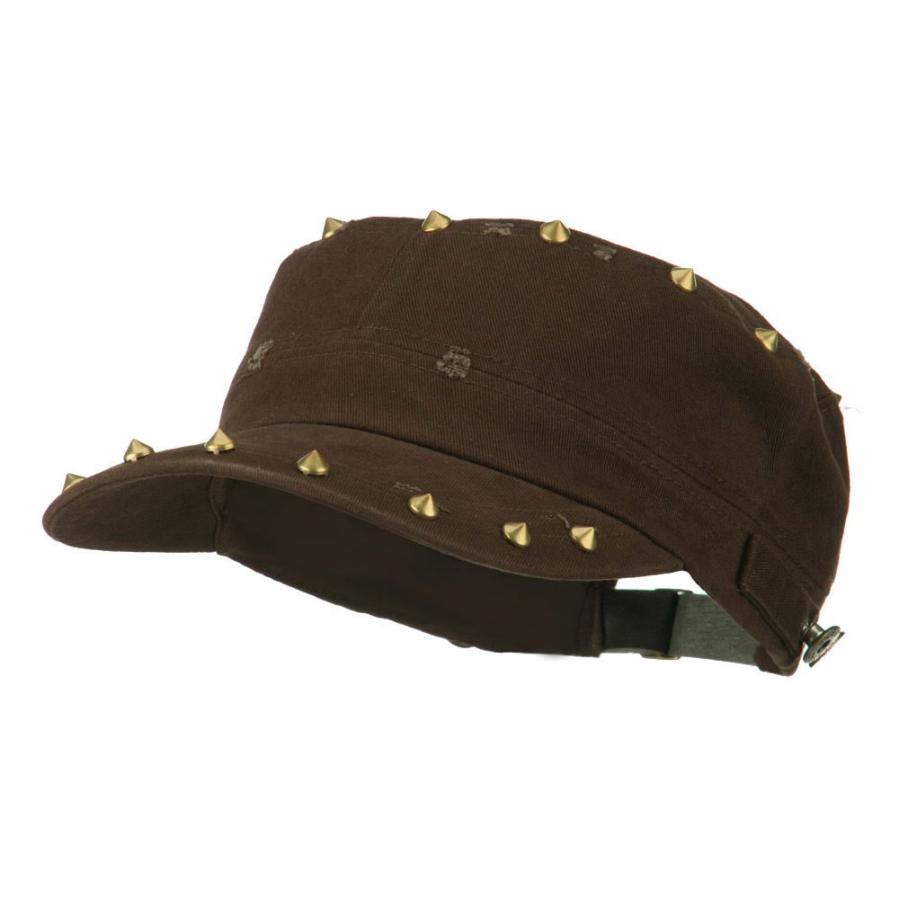 Spike Detail Washed Army Cap - Brown - Hats and Caps Online Shop - Hip Head Gear
