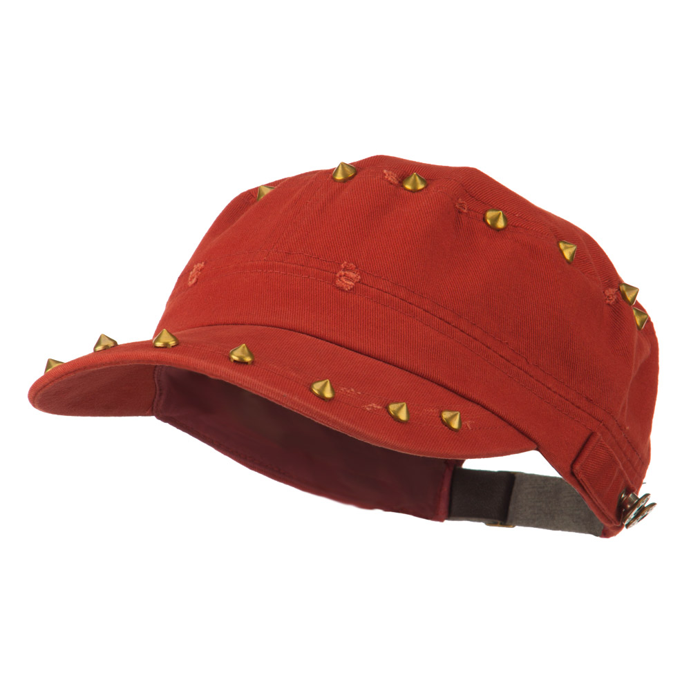 Spike Detail Washed Army Cap - Rust - Hats and Caps Online Shop - Hip Head Gear