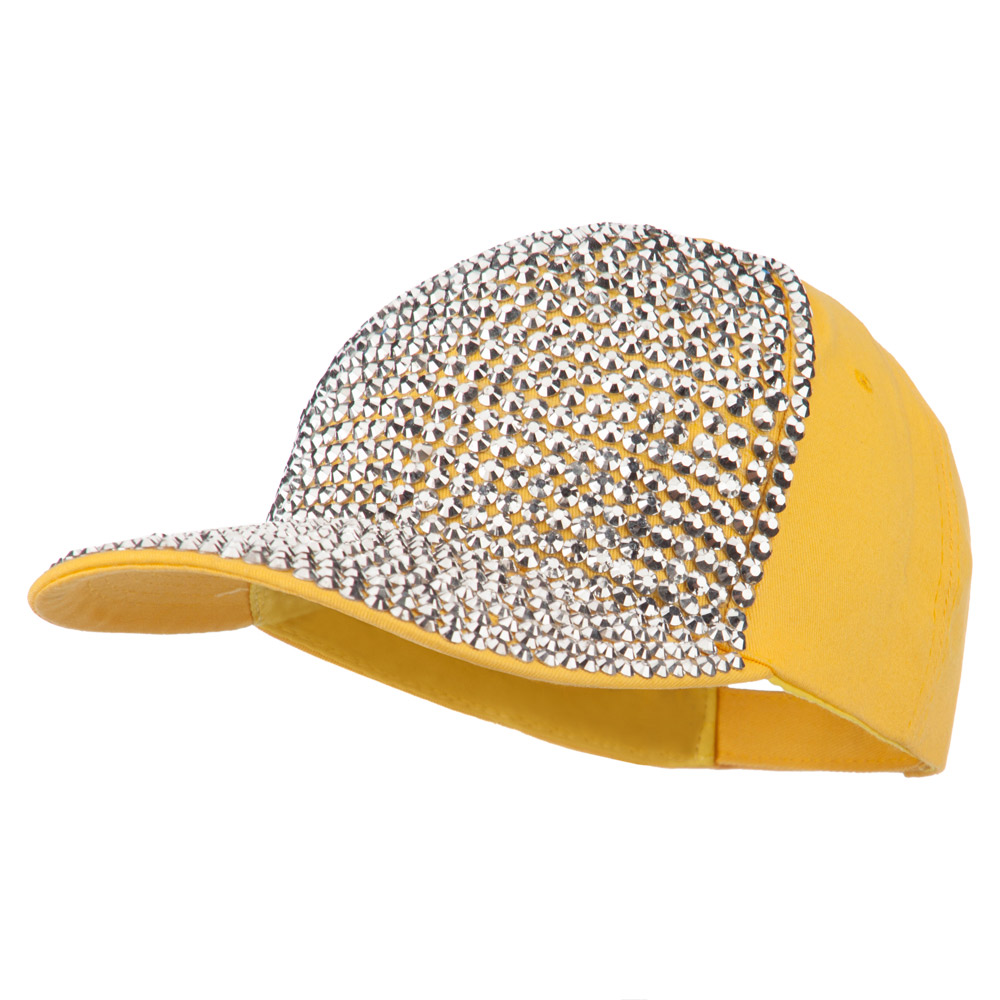 Stones Embellished Baseball Cap - Yellow