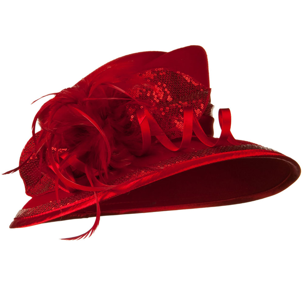 Wool Felt Dress Hat with Sequin Decoration - Red - Hats and Caps Online Shop - Hip Head Gear