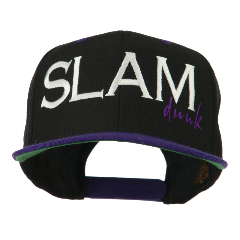 Slam Dunk Embroidered Flat Bill Cap - Black Purple - Hats and Caps Online Shop - Hip Head Gear