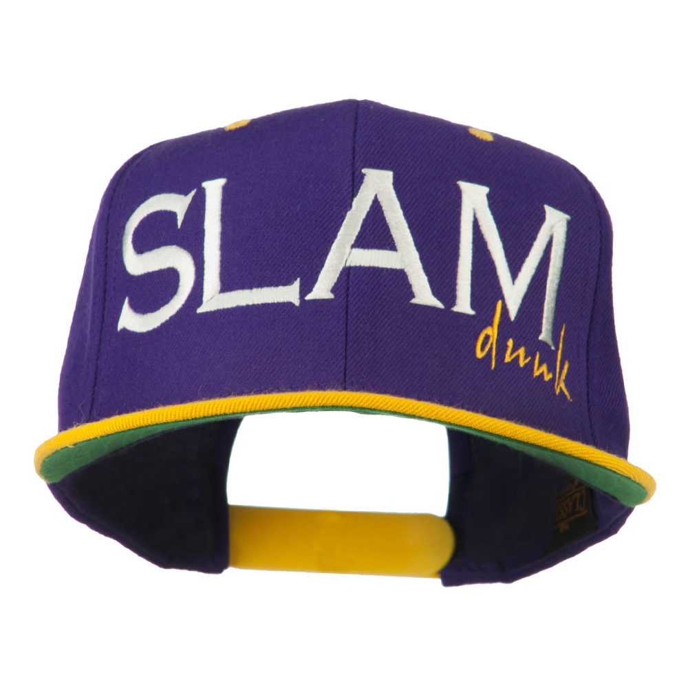 Slam Dunk Embroidered Flat Bill Cap - Purple Gold - Hats and Caps Online Shop - Hip Head Gear