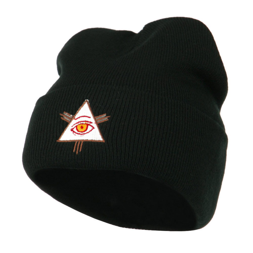 All Seeing Eye Embroidered Beanie - Black - Hats and Caps Online Shop - Hip Head Gear