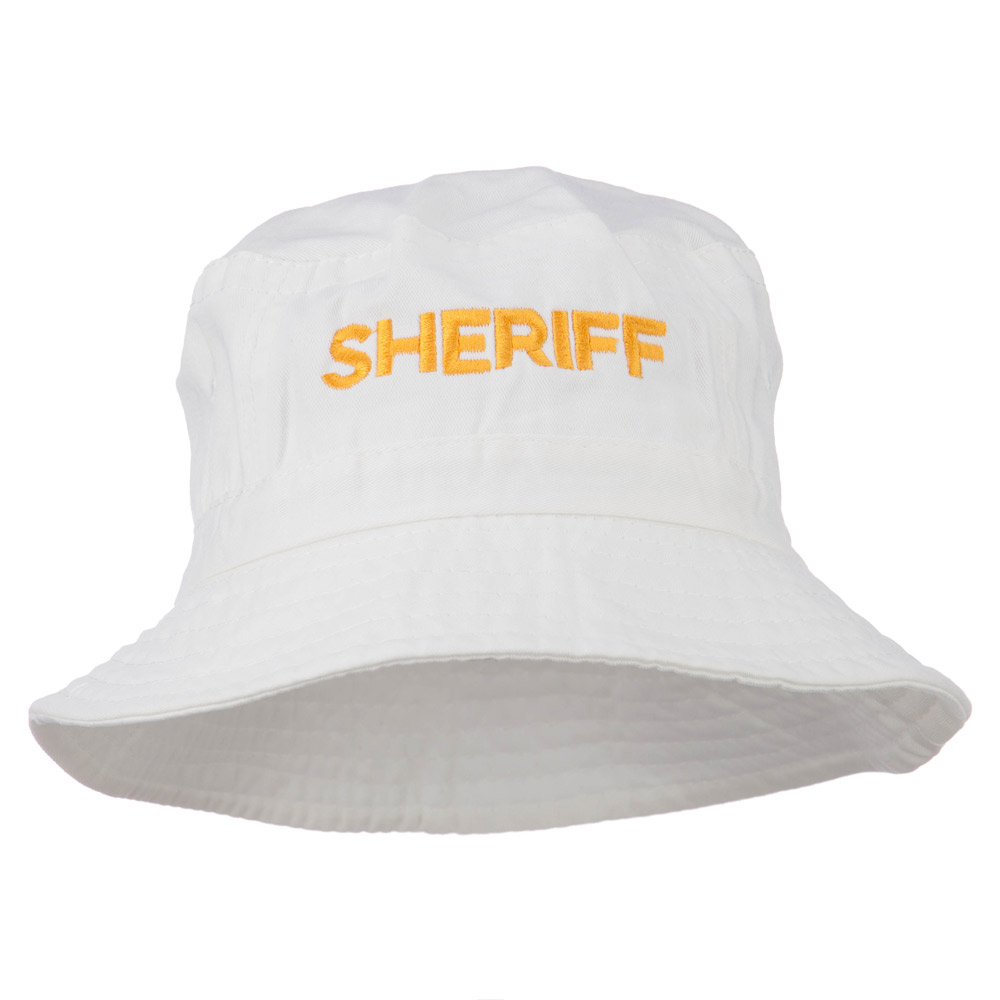 Sheriff Embroidered Pigment Dyed Bucket Hat - White