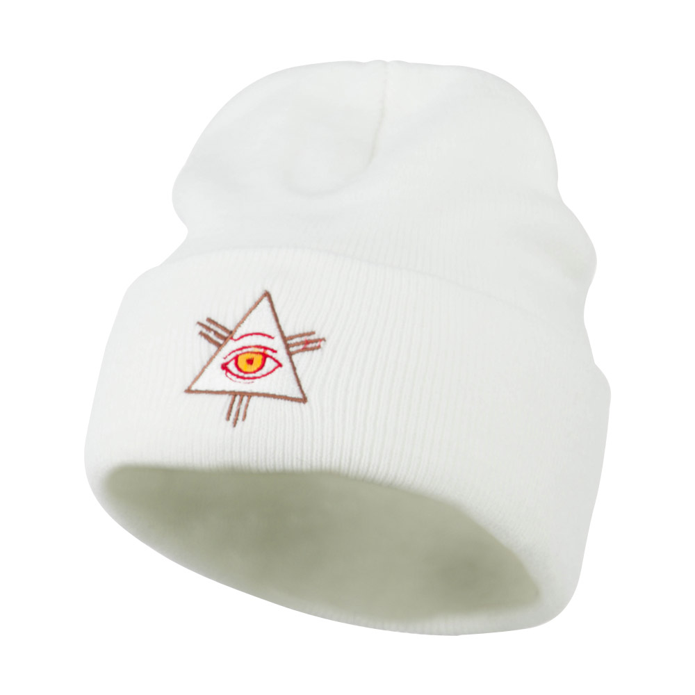 All Seeing Eye Embroidered Beanie - White - Hats and Caps Online Shop - Hip Head Gear