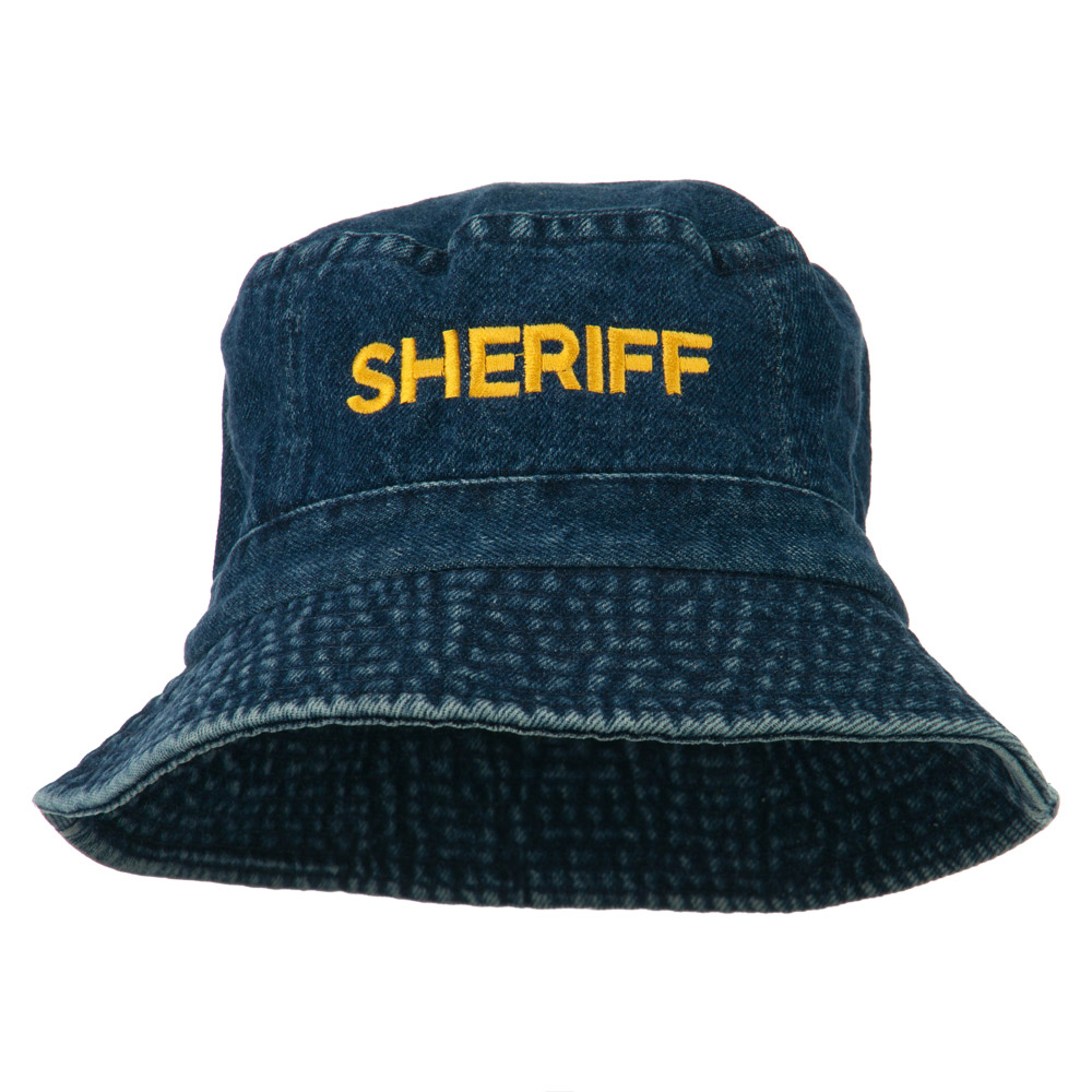 Sheriff Embroidered Pigment Dyed Bucket Hat - Denim