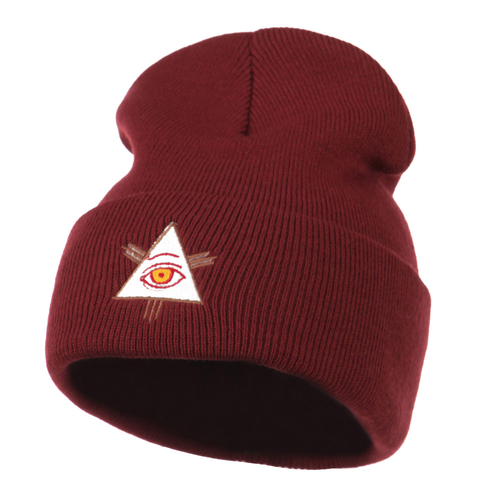 All Seeing Eye Embroidered Beanie - Maroon - Hats and Caps Online Shop - Hip Head Gear