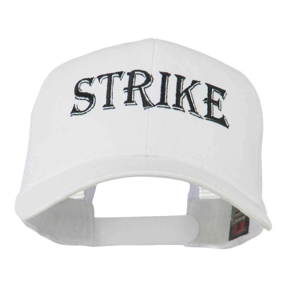 Strike Embroidered 6 Panel Mesh Cap - White - Hats and Caps Online Shop - Hip Head Gear