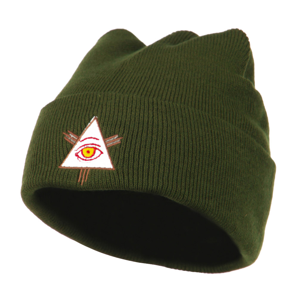 All Seeing Eye Embroidered Beanie - Olive - Hats and Caps Online Shop - Hip Head Gear