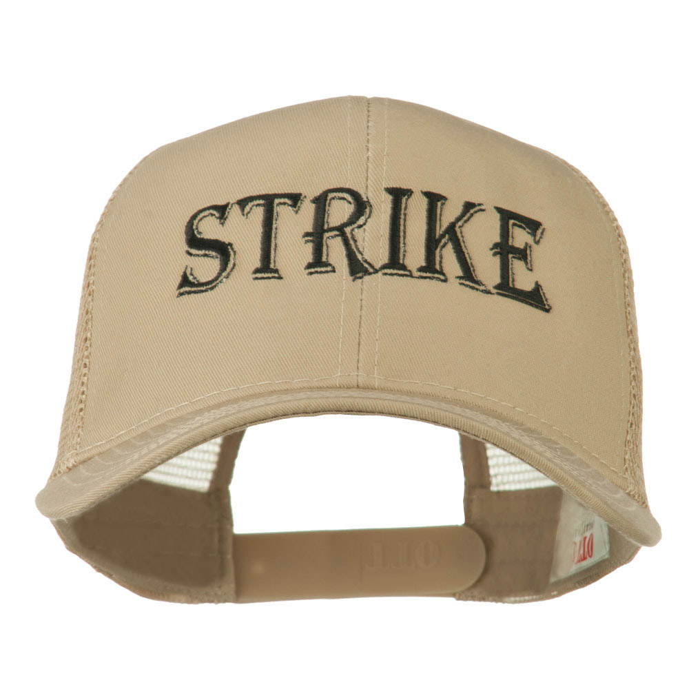 Strike Embroidered 6 Panel Mesh Cap - Khaki - Hats and Caps Online Shop - Hip Head Gear