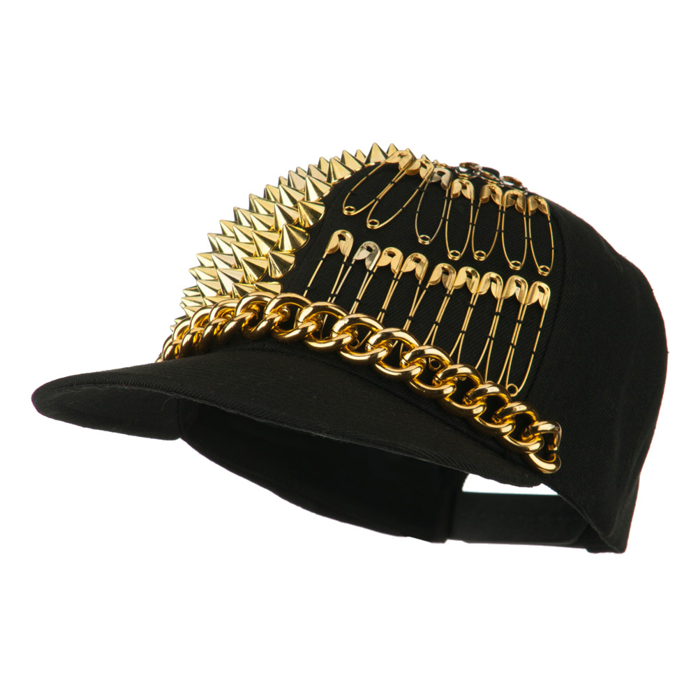 Spike Flat Bill Cap with Pins - Gold - Hats and Caps Online Shop - Hip Head Gear