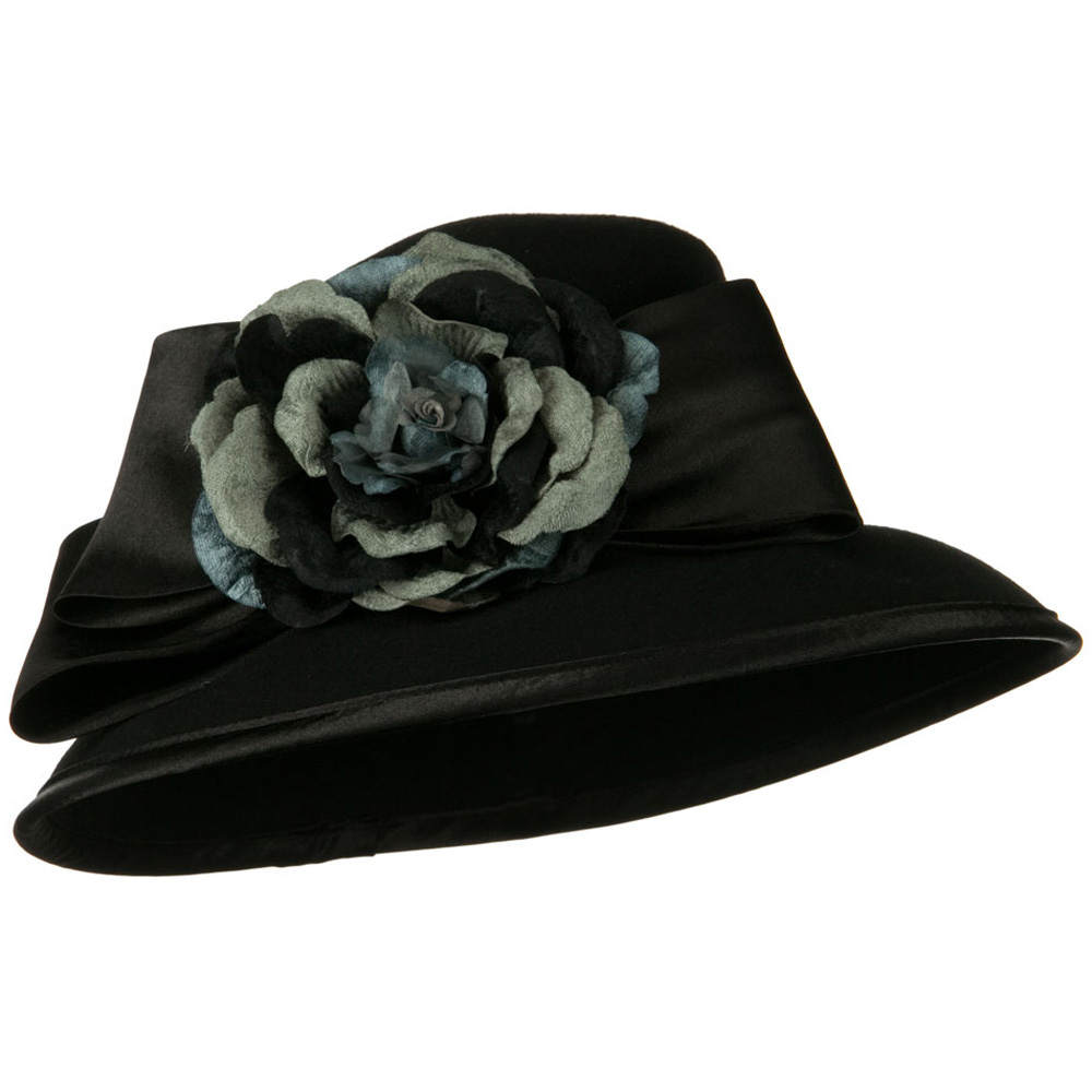 Satin Bow Flower Wool Felt Hat - Black - Hats and Caps Online Shop - Hip Head Gear