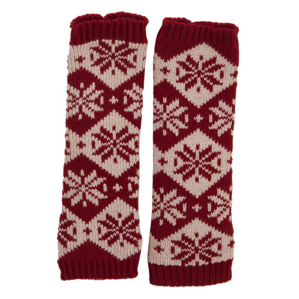 Women's Snowflake Arm Warmer - Burgundy