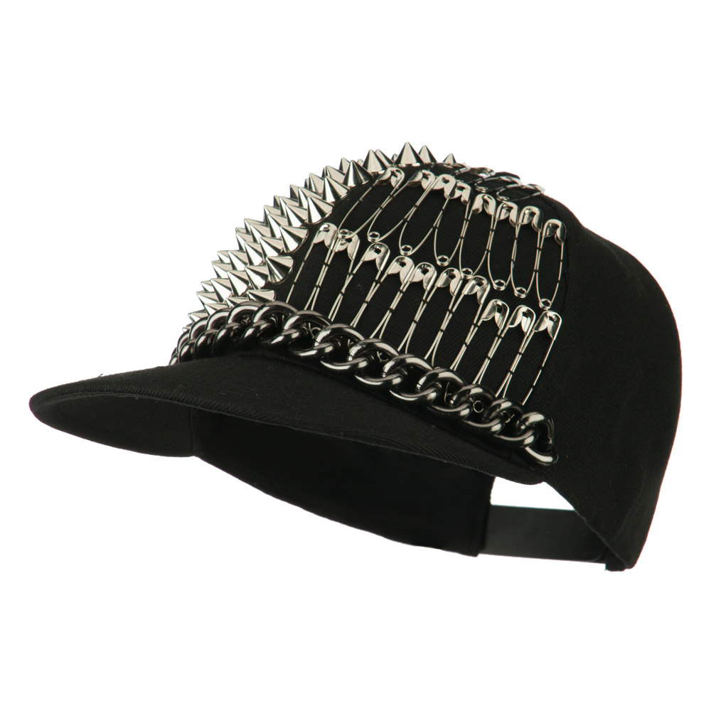 Spike Flat Bill Cap with Pins - Silver - Hats and Caps Online Shop - Hip Head Gear