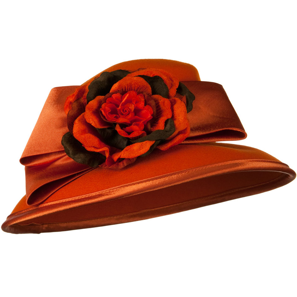 Satin Bow Flower Wool Felt Hat - Orange - Hats and Caps Online Shop - Hip Head Gear