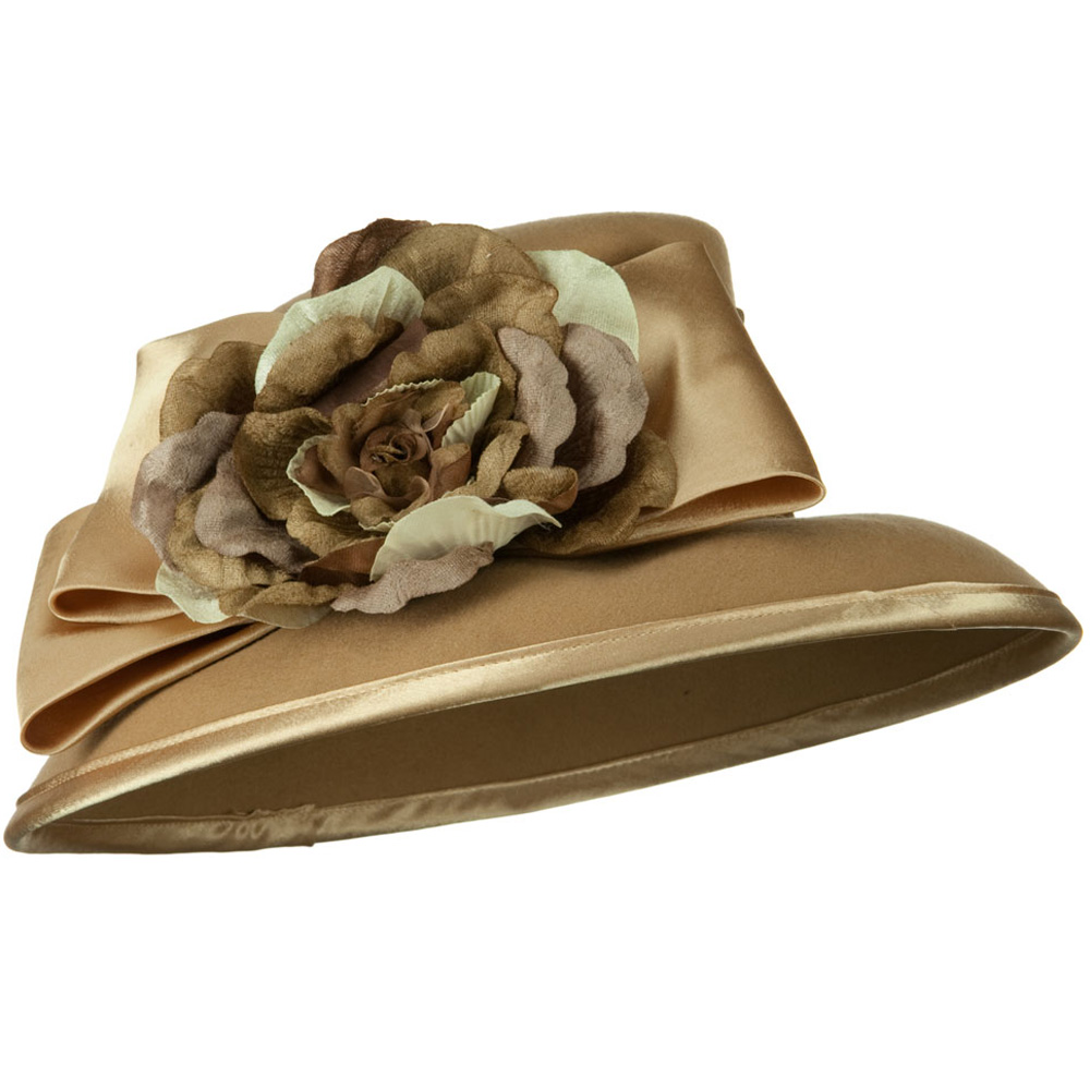Satin Bow Flower Wool Felt Hat - Camel - Hats and Caps Online Shop - Hip Head Gear