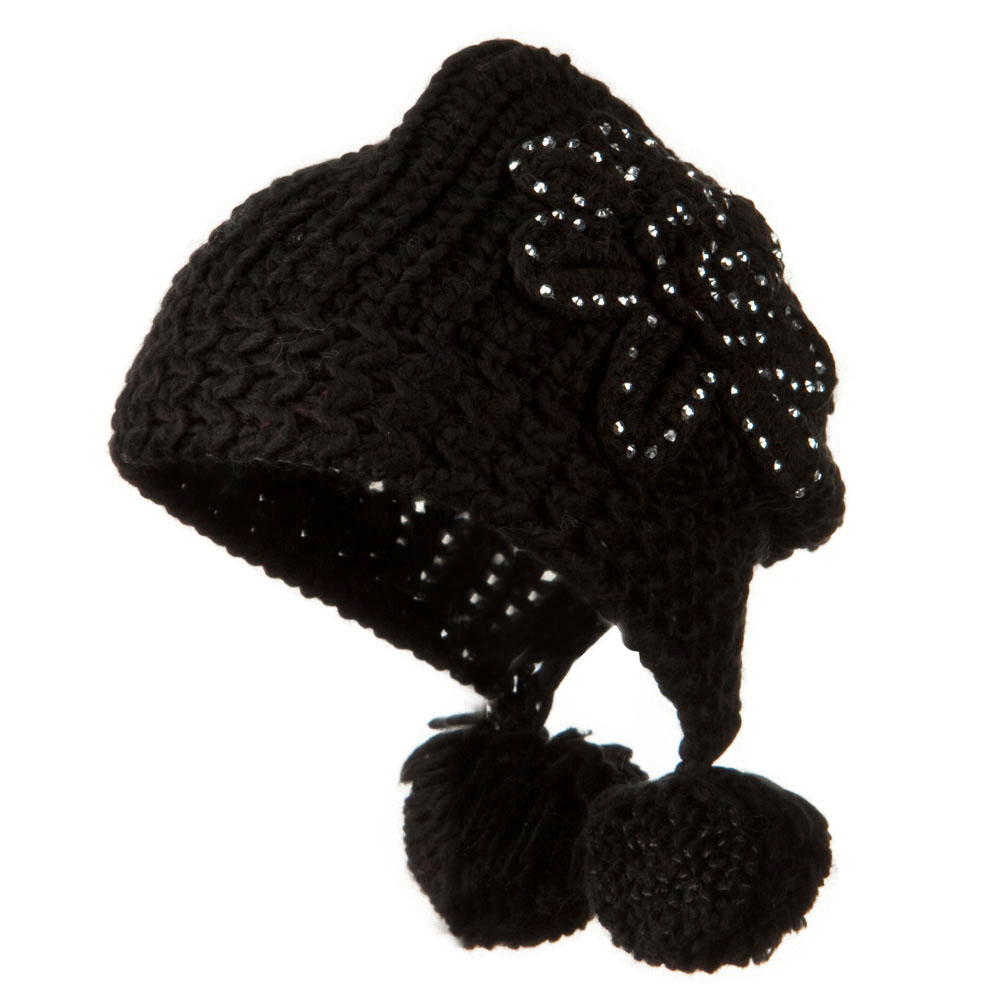 Knit Hat with Stoned Flower - Black - Hats and Caps Online Shop - Hip Head Gear