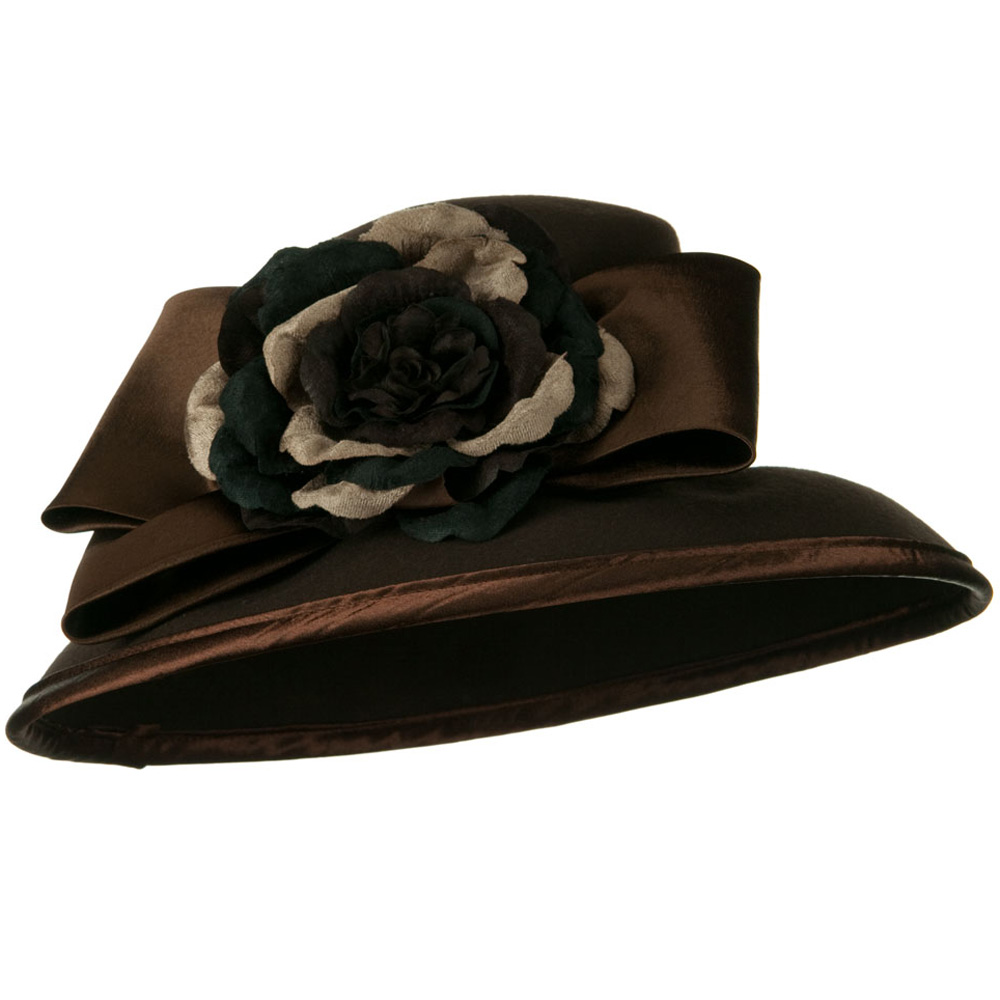 Satin Bow Flower Wool Felt Hat - Chocolate - Hats and Caps Online Shop - Hip Head Gear