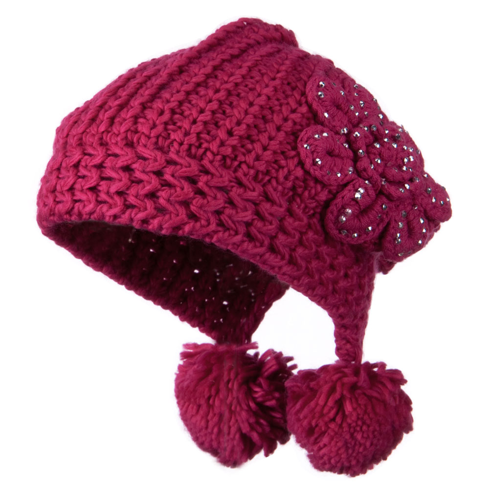 Knit Hat with Stoned Flower - Fuschia - Hats and Caps Online Shop - Hip Head Gear