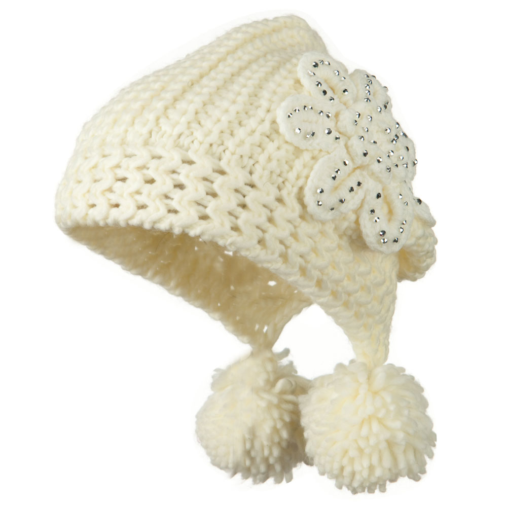 Knit Hat with Stoned Flower - Ivory - Hats and Caps Online Shop - Hip Head Gear
