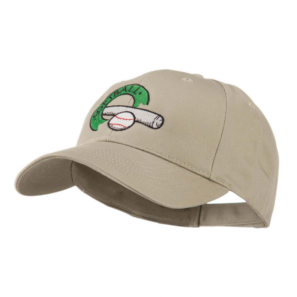 Softball with Bat and Baseball Embroidered Cap - Khaki