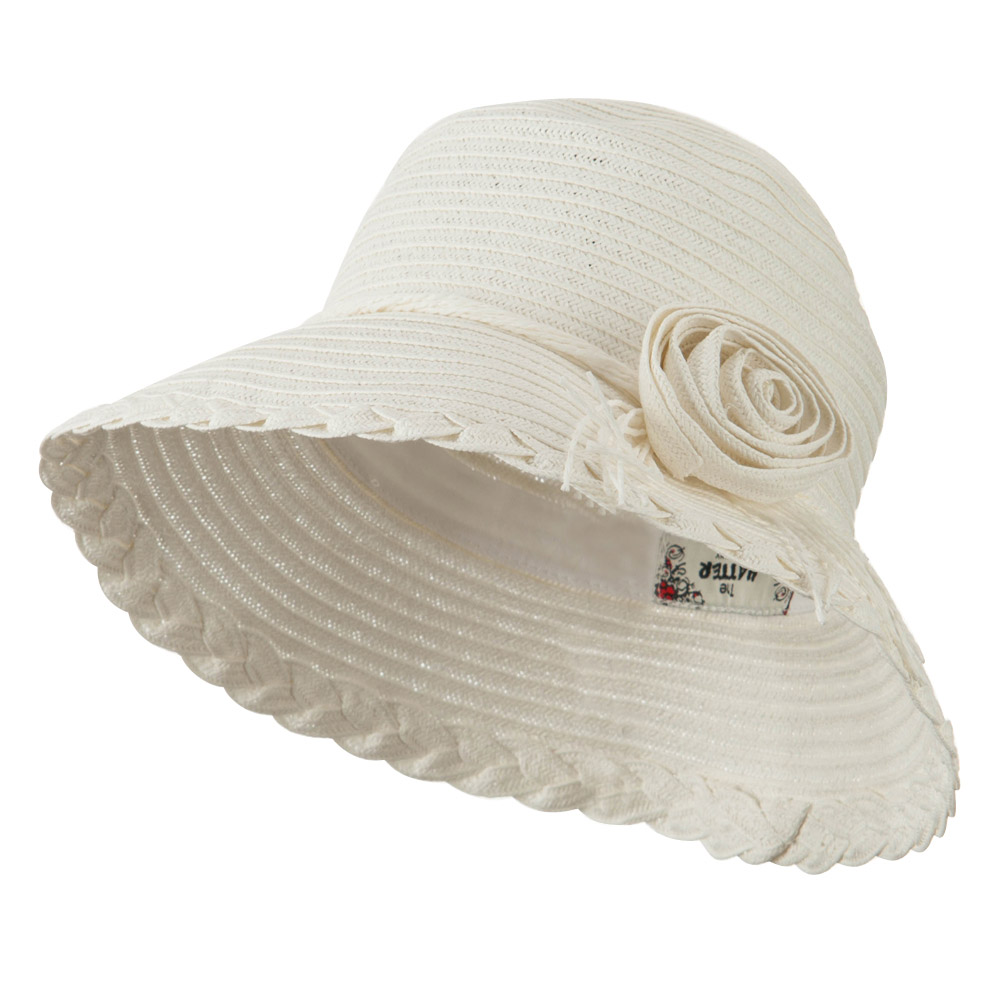 Flower Accent Straw Bucket Hat - White - Hats and Caps Online Shop - Hip Head Gear
