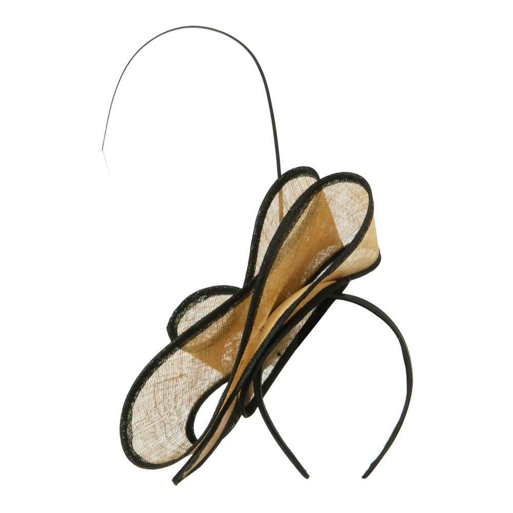 Women's Wide Ribbon Straw Headband Fascinator - Gold Black - Hats and Caps Online Shop - Hip Head Gear