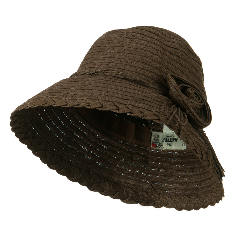 Flower Accent Straw Bucket Hat - Brown - Hats and Caps Online Shop - Hip Head Gear