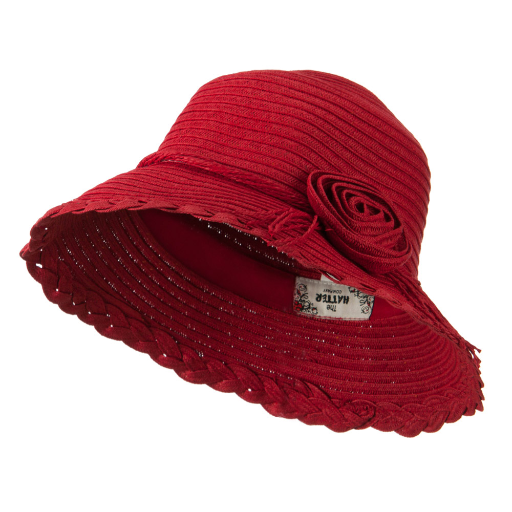 Flower Accent Straw Bucket Hat - Red - Hats and Caps Online Shop - Hip Head Gear