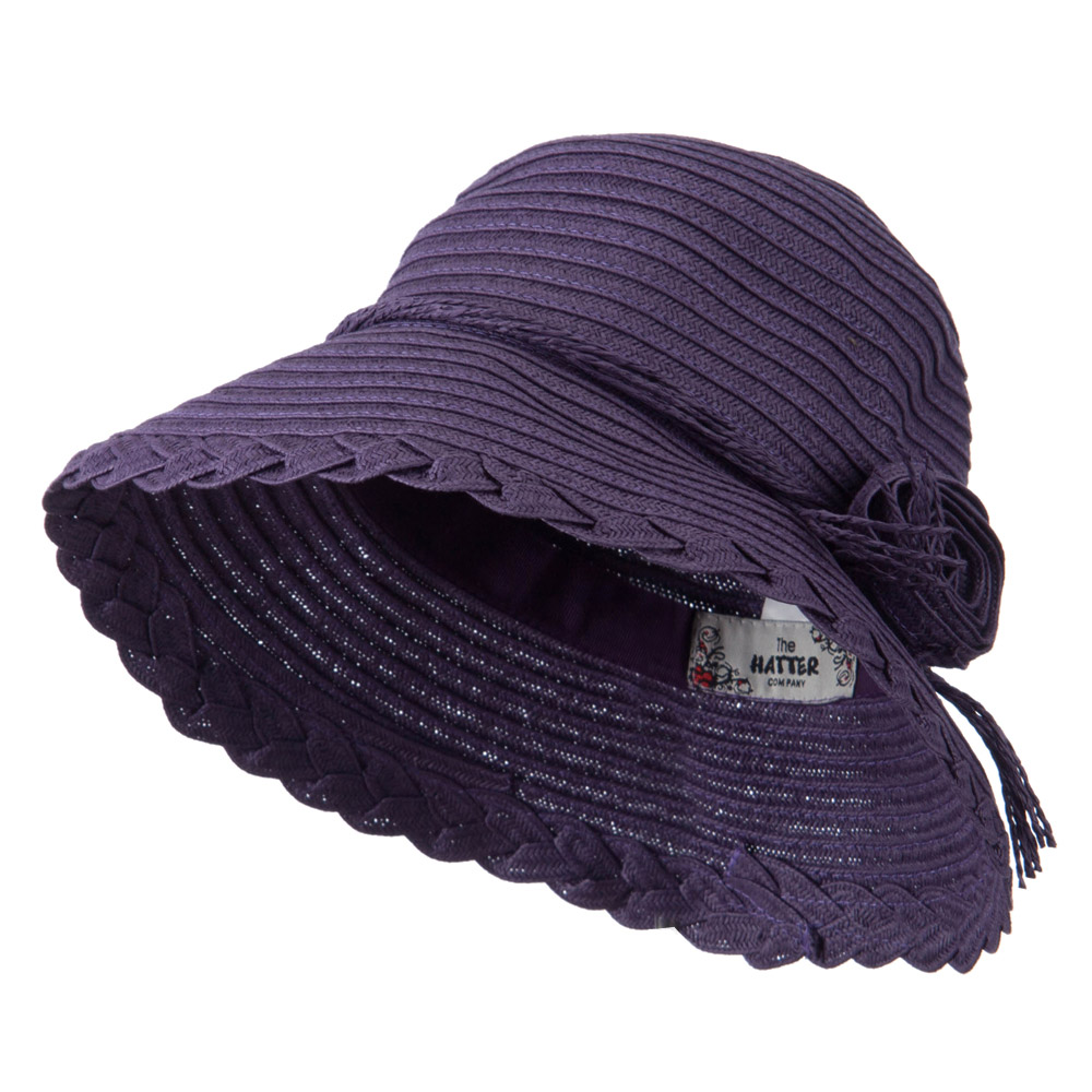 Flower Accent Straw Bucket Hat - Purple - Hats and Caps Online Shop - Hip Head Gear