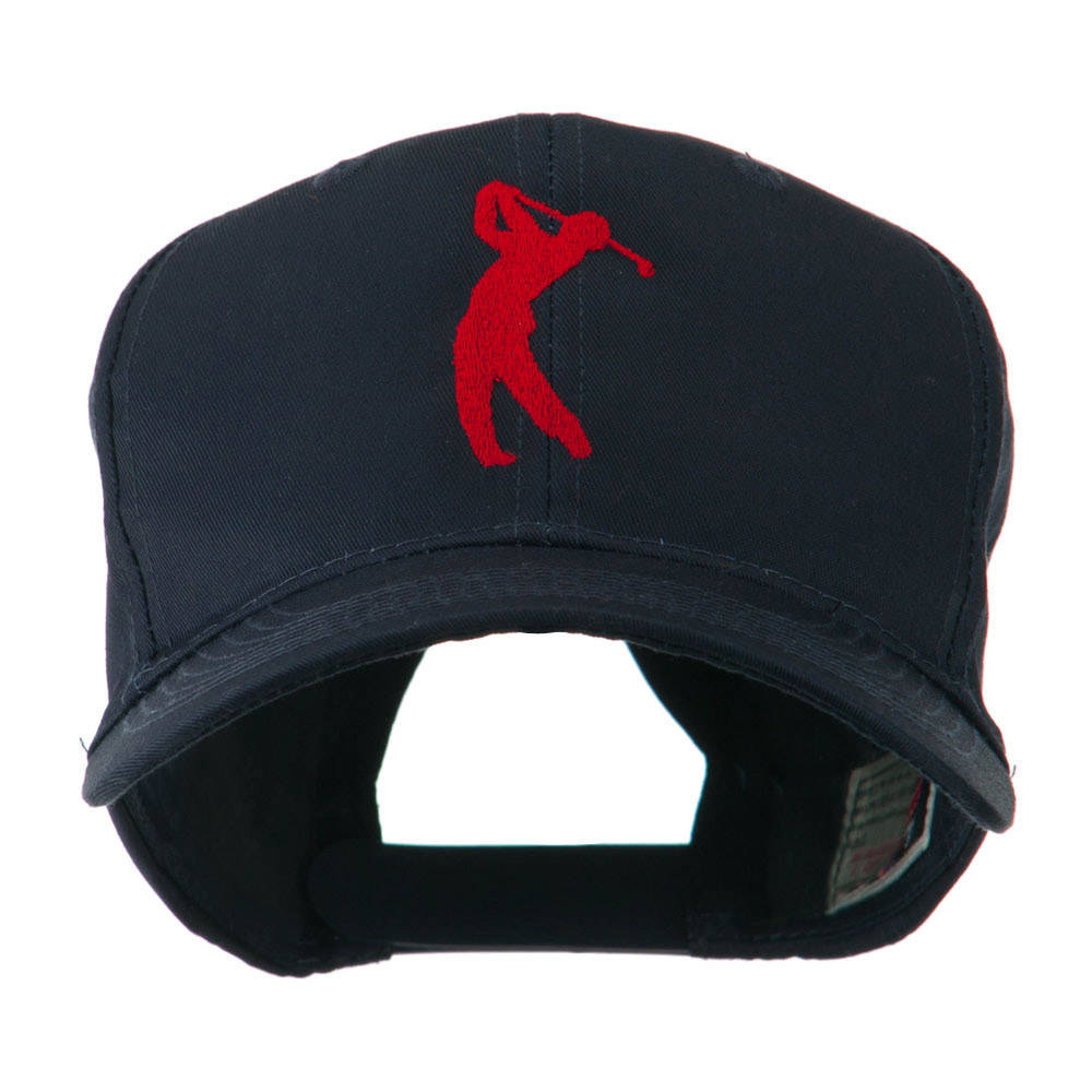 Silhouette of Golfer Swing Embroidered Cap - Navy