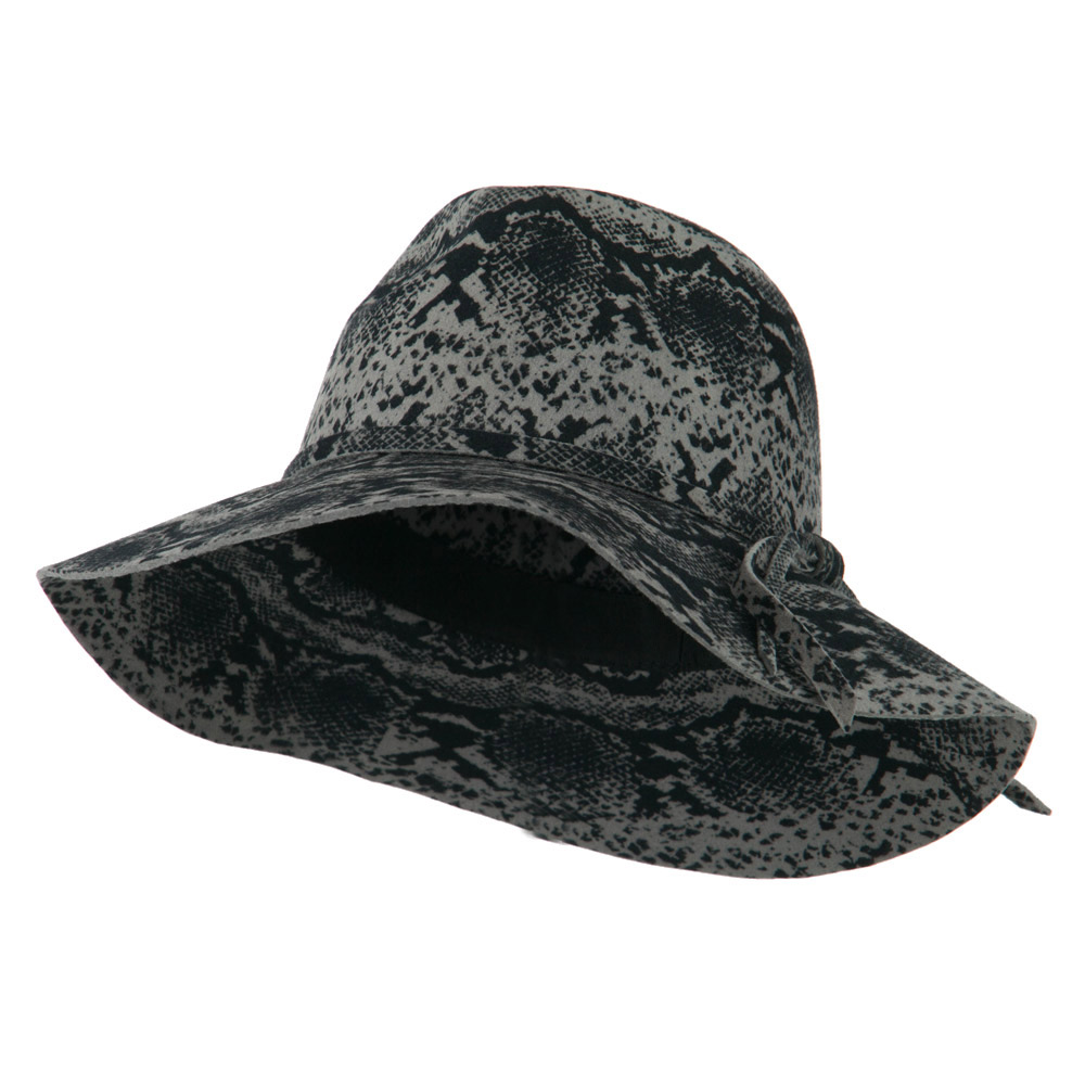 Snake Printed Wool Wide Brim Fedora - Grey - Hats and Caps Online Shop - Hip Head Gear