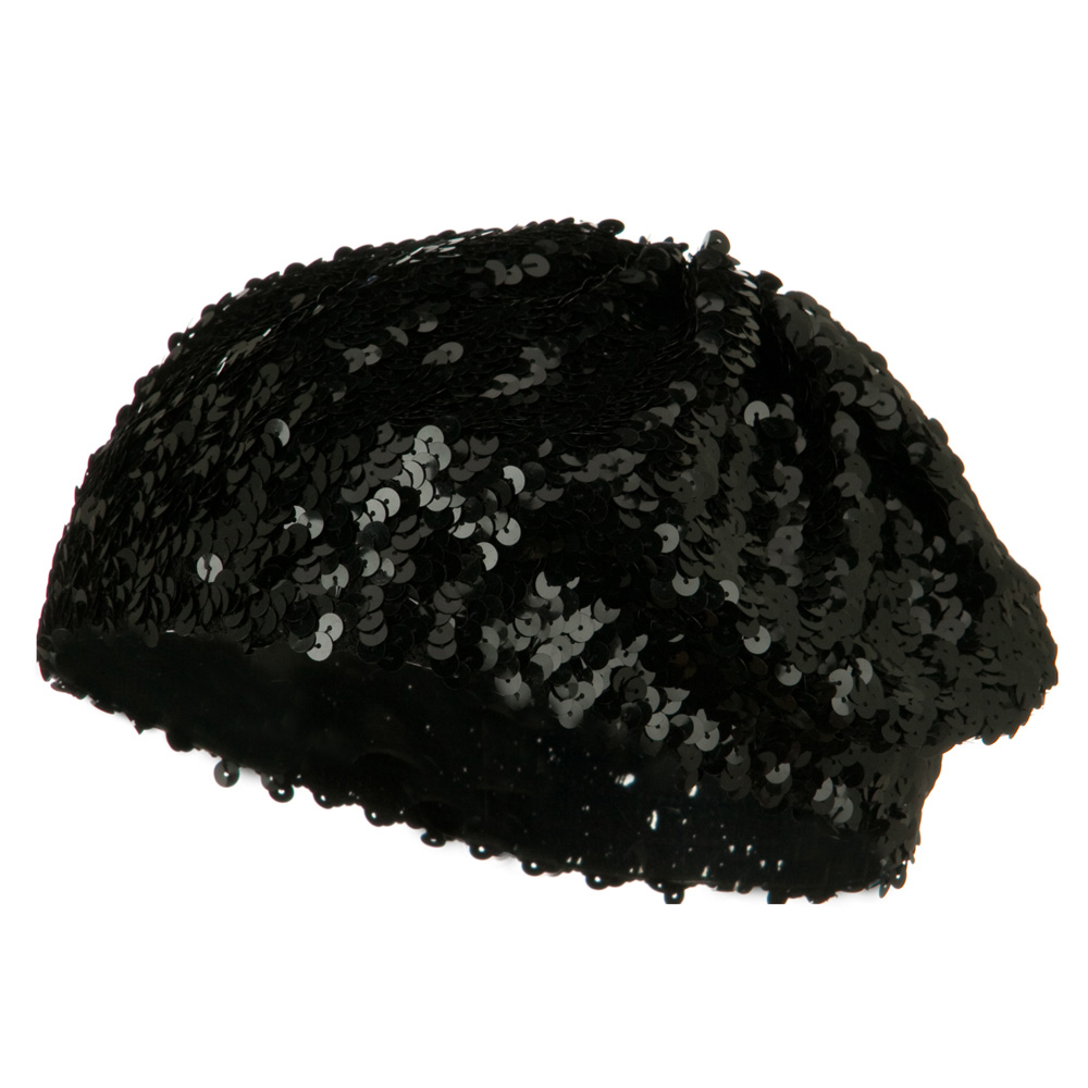 Sequin Knitted Beret - Black - Hats and Caps Online Shop - Hip Head Gear