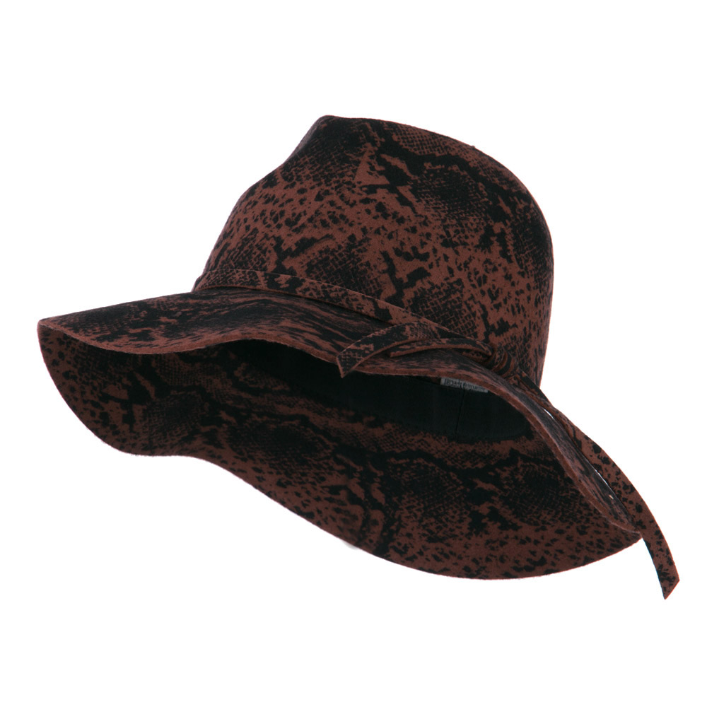 Snake Printed Wool Wide Brim Fedora - Pecan - Hats and Caps Online Shop - Hip Head Gear