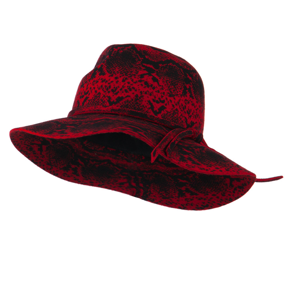 Snake Printed Wool Wide Brim Fedora - Red - Hats and Caps Online Shop - Hip Head Gear