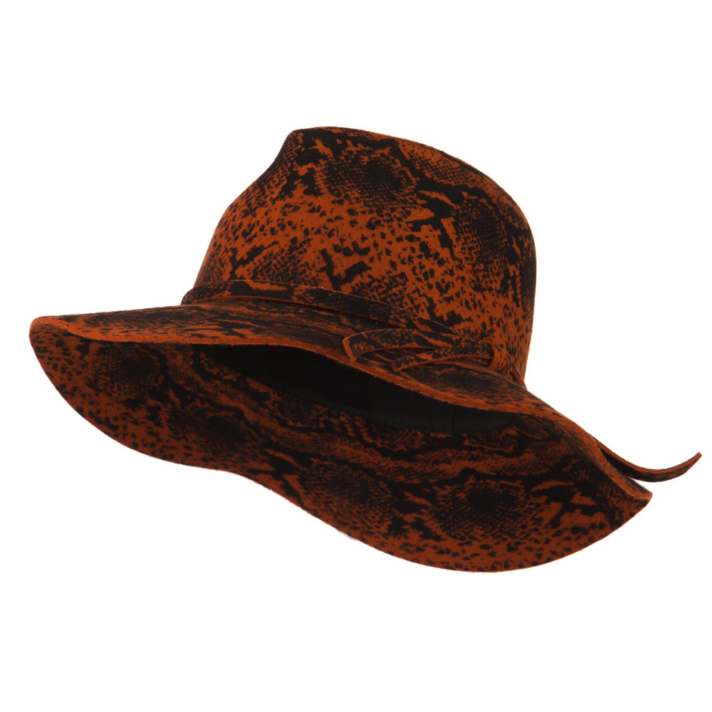 Snake Printed Wool Wide Brim Fedora - Rust - Hats and Caps Online Shop - Hip Head Gear