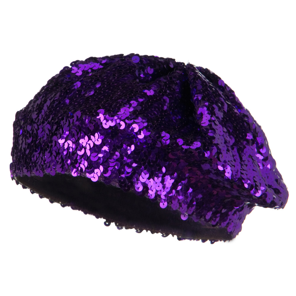 Sequin Knitted Beret - Purple - Hats and Caps Online Shop - Hip Head Gear